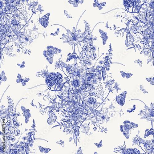 Seamless vector pattern with Victorian bouquet and butterflies. Garden flowers. Toile de Jouy