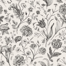 Seamless Vector Vintage Floral Pattern. Classic Illustration. Black And White..