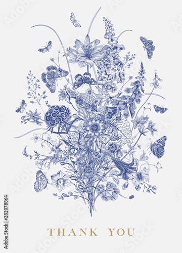 Victorian bouquet and butterflies. Garden flowers. Toile de Jouy