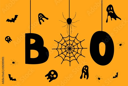 Fényképezés  Halloween Boo Word with Ghosts spiders and skulls
