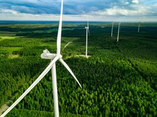 Aerial View Of Windmills In Su...
