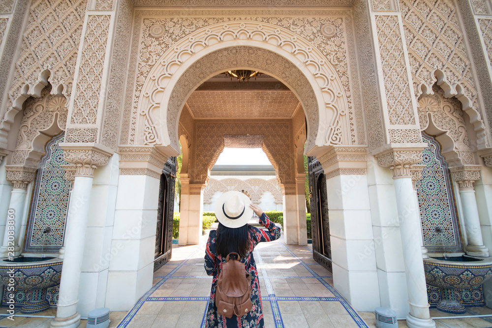 Fototapety, obrazy: Tourist is sightseeing at Morocco Pavilion in Putrajaya district in Malaysia.