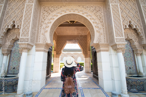 Poster Maroc Tourist is sightseeing at Morocco Pavilion in Putrajaya district in Malaysia.