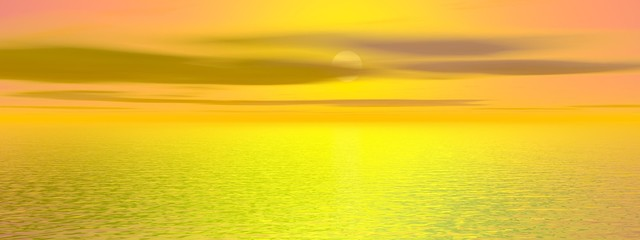 Beautiful sunset on the sea - 3d rendering