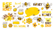 Set Of Bee, Honey, Lettering A...