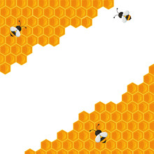 The Geometric Honeycomb Background Has A Sweet Yellow Honey Color To Make A Delicious Bakery.