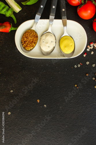 sauces, portion serving (ingredient) different types Wallpaper Mural