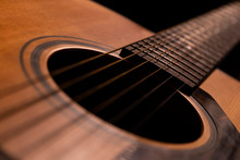Acoustic Guitar Detail On Blac...