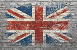 Fototapeta Młodzieżowe - Flag of Britain painted on brick wall