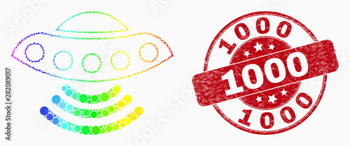 Fotografiet Dot rainbow gradiented UFO mosaic icon and 1000 seal stamp