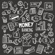 Money and Banking Design elements. Vector Doodle Illustration Set in Blackboard Chalk Style.