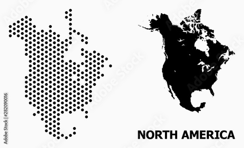 Cuadros en Lienzo  Dot Pattern Map of North America