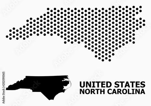Pixel Pattern Map of North Carolina State Fototapeta