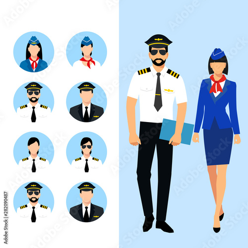 Fotografija Illustration of stewardess dressed in blue uniform