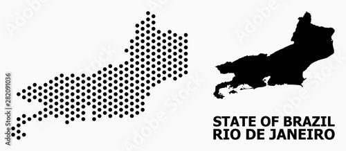 Photo  Dot Pattern Map of Rio De Janeiro State