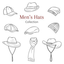 Men's Hats Collection, Vector Illustration.
