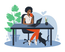 African American Woman Using Laptop Flat Vector Illustration. Working From Home, Remote Job. Online Shopping