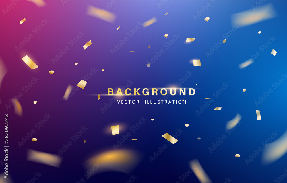 Fototapety, obrazy: Abstract background. Party, Celebration or special birthday background with golden shiny glitters or ribbon falling in gradient background. Creative and Modern design in EPS10 vector illustration.