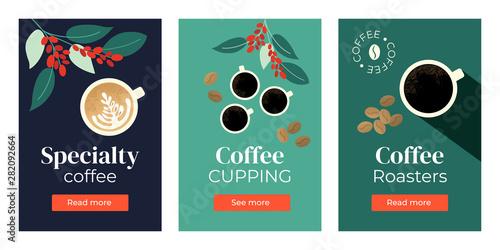 Fotografija Vector illustrations of Specialty coffee, cupping, roasters
