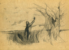 A Man Leaves, Says Goodbye And Waves His Hand. Drawing With A Pencil.
