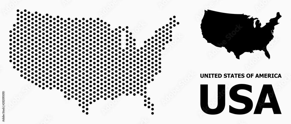Pixel Mosaic Map of USA