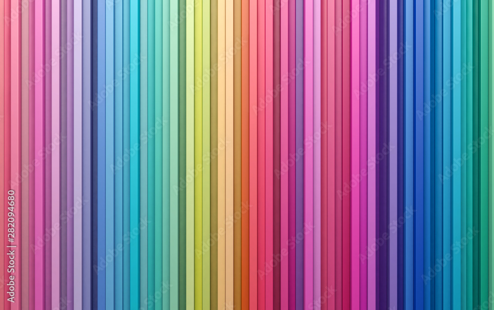Fototapeta 3D rendering abstract background colorful strips wall