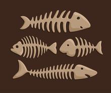 Colorful Clip Arts Set With Cartoon Fish Bones