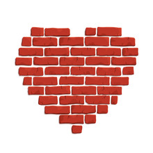 Clip Art With Red Brick Heart Shape