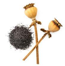 Poppy Seeds With Two Dried Pods On A White. The View Of The Top.