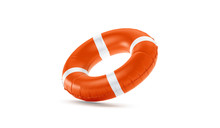 Blank Red Lifebuoy No Gravity Mock Up Isolated, 3d Rendering. Empty Flotation Ring Mockup. Clear Round Lifesaver For Flotation On Water. Sos Inflatable Circular Template.