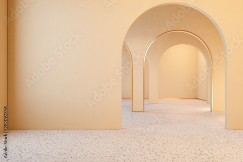 Beige interior with archs and terrazzo floor Canvas Print