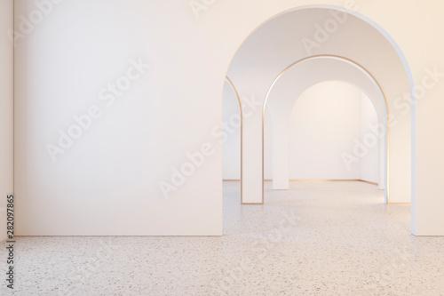 Valokuva  White interior with archs and terrazzo floor