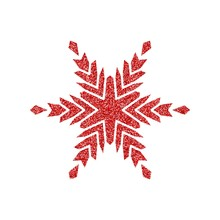 Shining Red Snowflakes And Snow. Merry Christmas Card Illustration On White Background. Sparkling Element With Glitter Texture