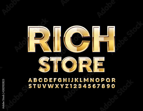 Vector shiny logo Rich Store with Modern Golden Font Canvas-taulu