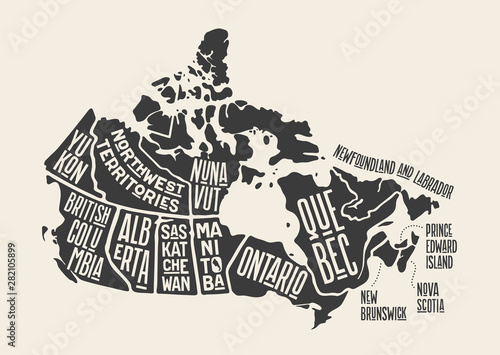 Fotomural Map Canada. Poster map of provinces and territories of Canada