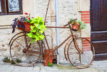 Vintage Bicycle With Basket Of...