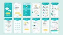 Set Of UI, UX, GUI Screens Social Network App Flat Design Template For Mobile Apps, Responsive Website Wireframes. Web Design UI Kit. Social Network Dashboard.