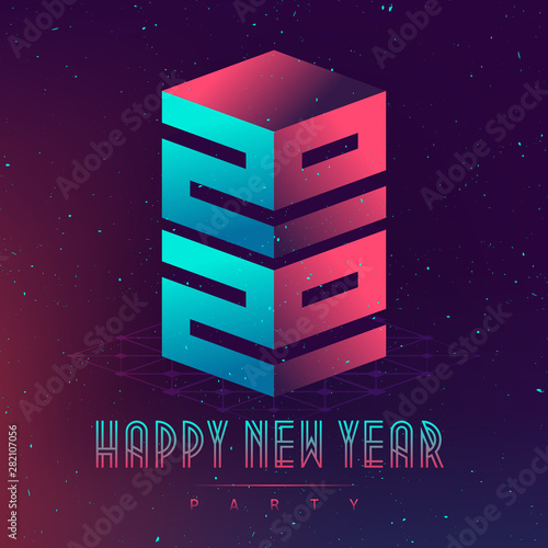 PHappy New Year 2020 party  Futuristic design posters with
