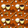 Vector background with coffee cups, milk jugs, beans, a spoon, coffee pots, sugar cubes, a grinder. Modern line style. seamless pattern