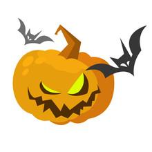 Halloween Cartoon Scarecrow Pumpkin Head. Halloween Illustration