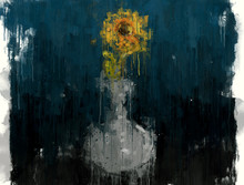 Sunflower In Vase Abstract Impressionism Style Art