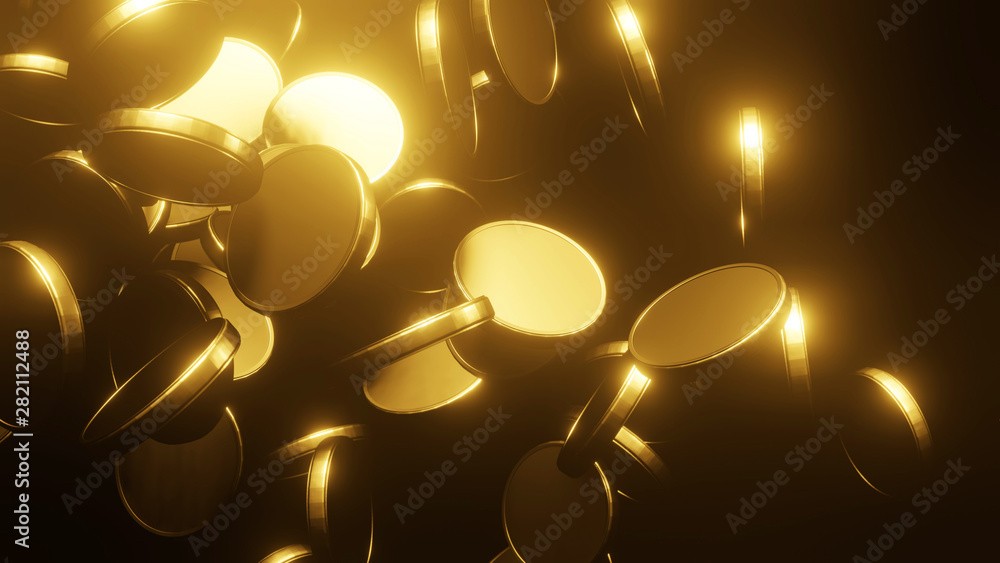 Fototapety, obrazy: Gold coins falling on black background