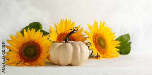 Autumn still life with sunf...