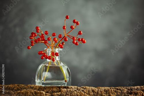 Cuadros en Lienzo  Beautiful autumn red berries in glass bottle on wood  at bokeh background, front view