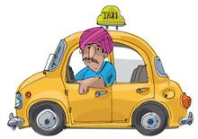 Indian Taxi Driver In Turban S...