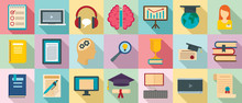 Staff Education Icons Set. Fla...