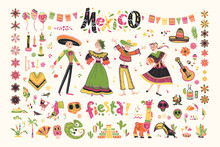 Vector Set Of Mexico Elements, Skeleton Characters, Animals In Flat Hand Drawn Style Isolated On White Background. Icons For Fiesta, Celebration, National Patterns, Decoration, Traditional Food.