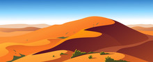 Vector Flat Landscape Minimalistic Illustration Of Hot Desert Nature View: Sky, Dunes, Sand, Plants. Good For Travel Banner, Card, Vacation Touristic Advertising, Brochure, Flayer Etc.