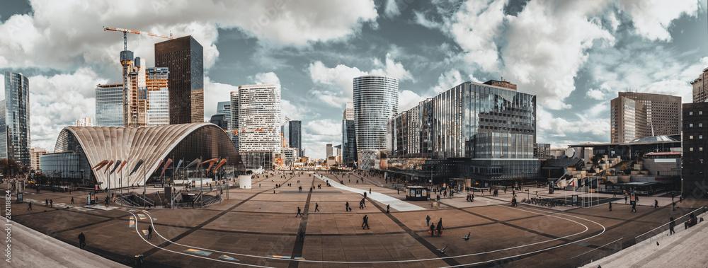 Fototapeta High resolution panoramic view of La Defense Business district in Paris, France