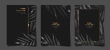 Set Of Elegant Black And Gold Tropical Foliage Cover, Flyer, Banner Layout Template